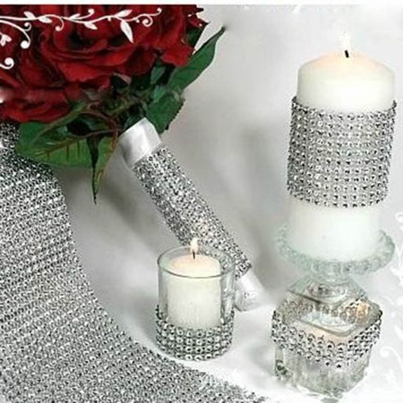 2019 New Fashion Crystal Diamond Mesh Arranged Rhinestone Ribbon For Bouquets Candle Holder Vases Wedding Party Home Decoration partes del cable coaxial