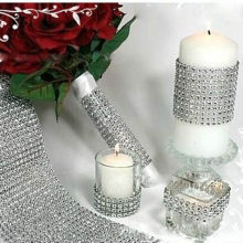 Fashion Crystal Diamond Mesh Arranged Rhinestone Ribbon For Bouquets Candle Holder Vases Wedding Party Home Decoration L(China)
