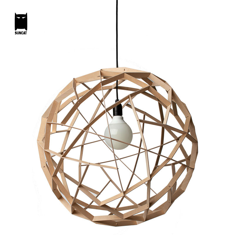 40/50cm Wood Round Ball Globe Sphere Pendant Light Fixture Korean Nordic Rustic Hanging Lamp Avize Luminaria Foyer Living Room 25 30 40cm iron clear glass globe ball pendant light fixture modern simple nordic lamp avize luminaria dining table room hallway