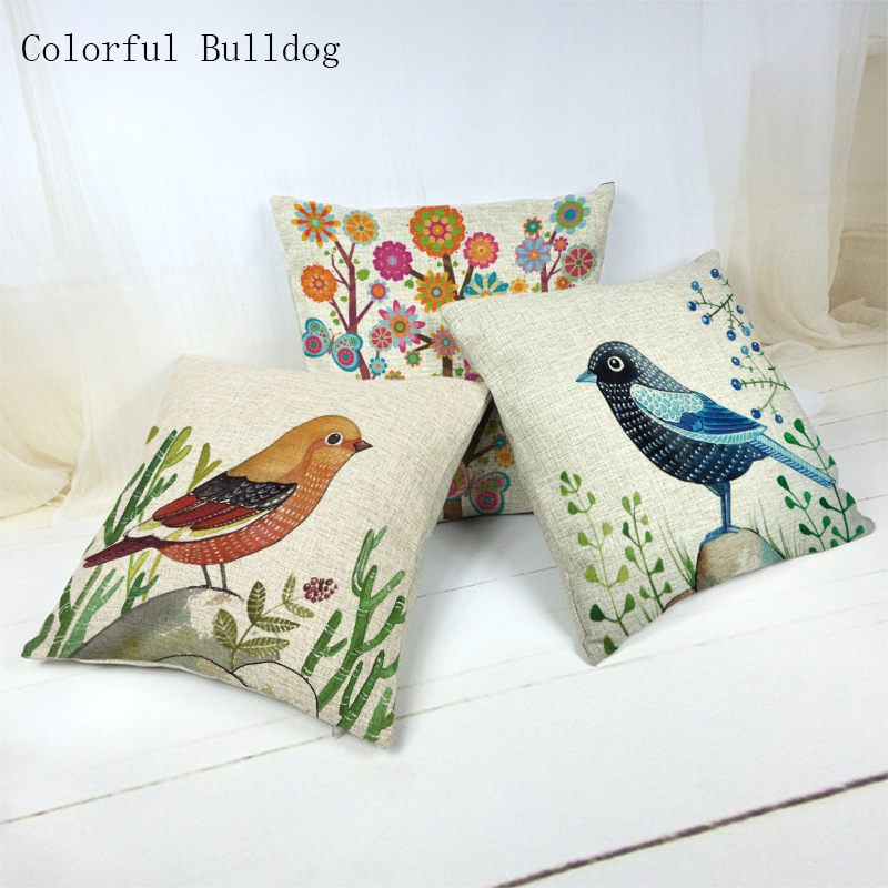 Throw Pillow Cover Brand Beautiful Bird and Flower Picture Linen Cojin 45x45Cm Square Houseware Decor 1 Side Print Cushion Cover