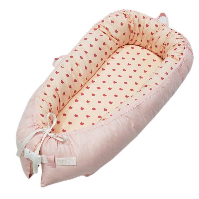 Детская кроватка-гнездо переносная съемная и моющаяся кроватка дорожная кровать для детей Младенческая Детская Хлопковая Колыбель - Цвет: Light pink love