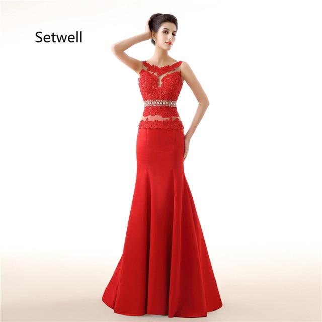 Setwell Charmante Rote Abendkleider Illusion Ausschnitt Backless ...