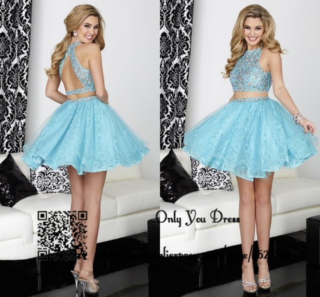 Semi Formal Lace Short Homecoming Dresses 2015 Two Piece High School