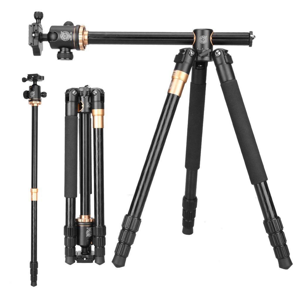 Q999H Horizontal Tripod Professional Video DSLR Camera Tripod Monopod Kit 61 Inch Portable Compact Travel fit Canon Nikon Sony
