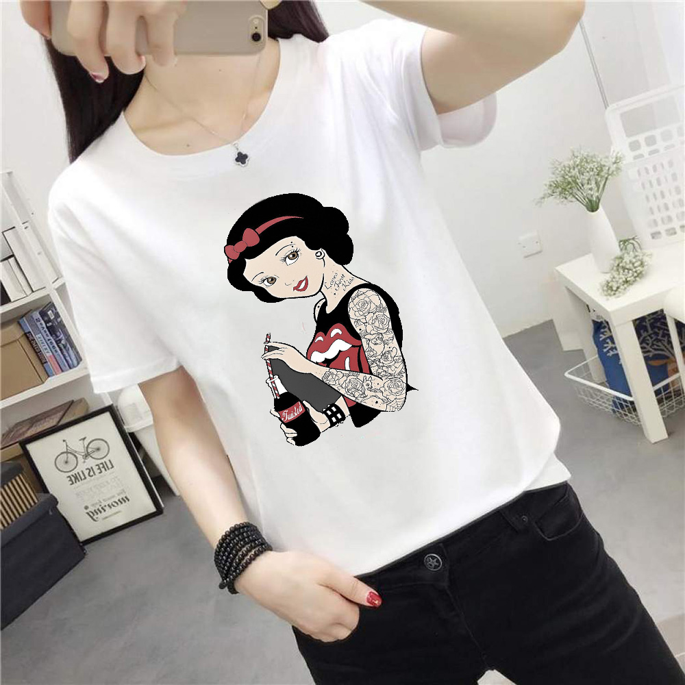Disney Tattoo Princess Tshirt Deep Snow White Tattoo 2019 Summer Fashion Harajuku O-neck Cotton Casual Comfortable Women's Shirt