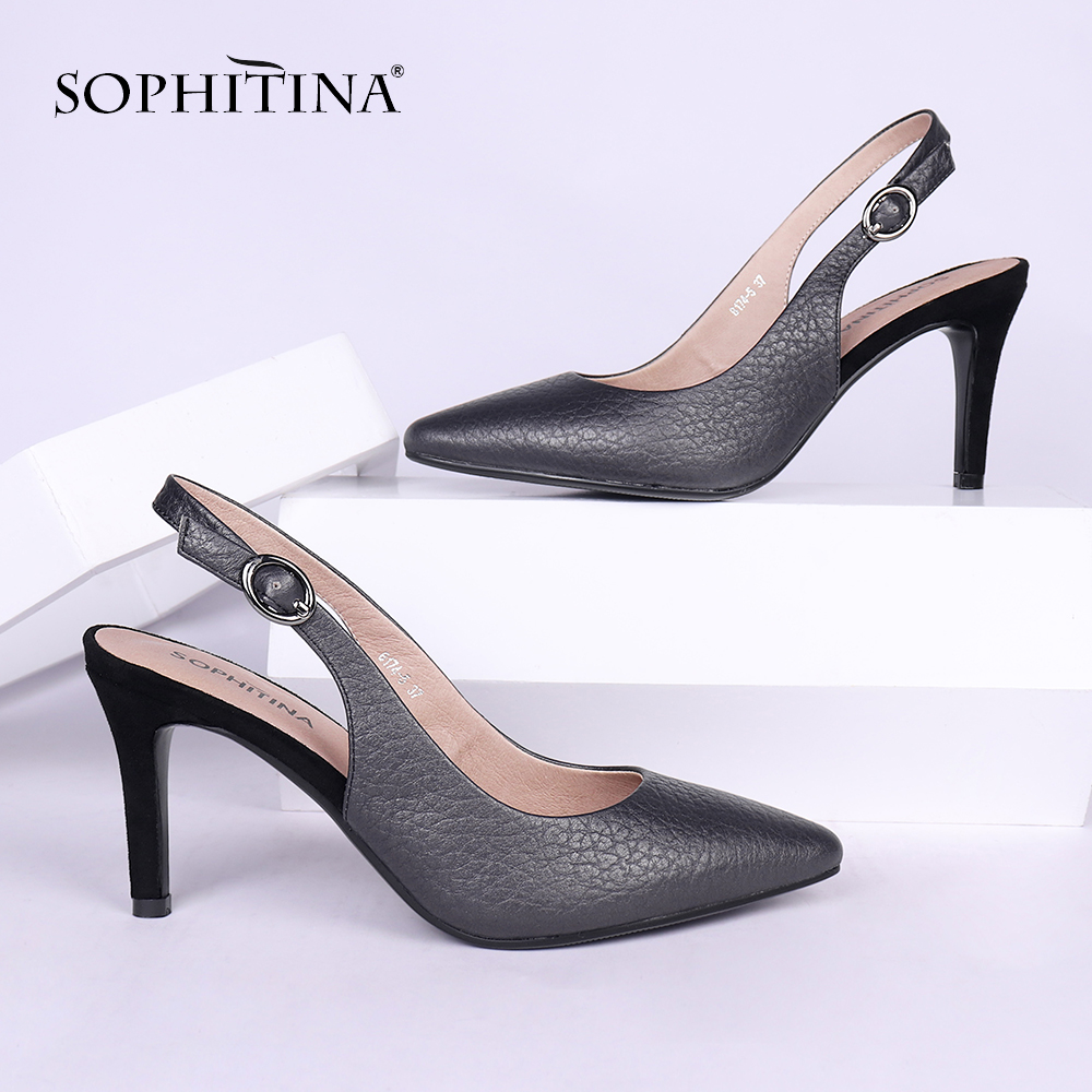 SOPHITINA Design Women s Sandals Fashion Buckle Sexy Toe Thin Heel New Genuine Leather Shoes Explosion