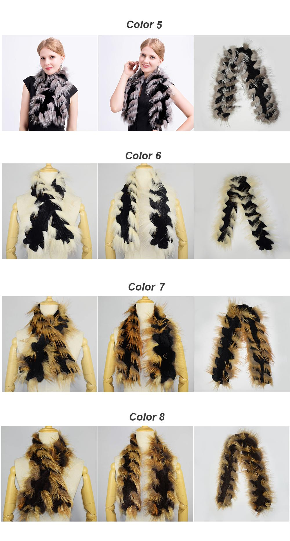 fox fur trimmed scarf colors 2