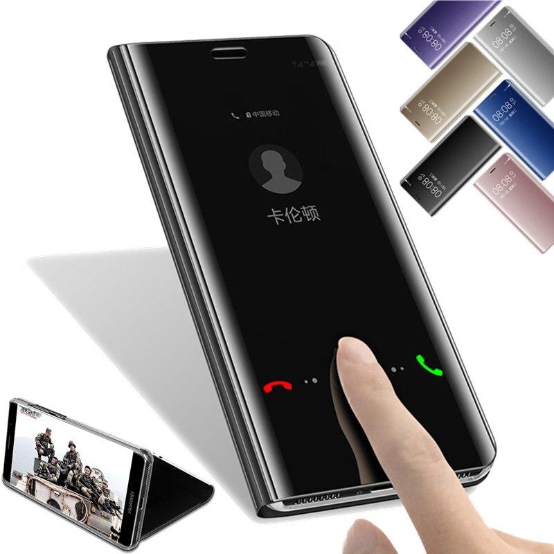 Spiegel Flip Leder Fällen Für Huawei Taube 10 Pro Taube 9 Coque P8 P9 P10 Lite 2017 P10 Plus Klarsichtfenster Smart Stand abdeckung