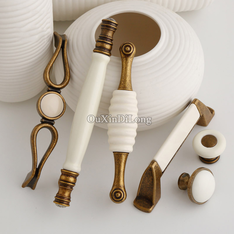Hot 10PCS Furniture Ceramic Handles European American Style Drawer Wardrobe Cupboard Kitchen Cabinet Door Pulls Handles & Knobs