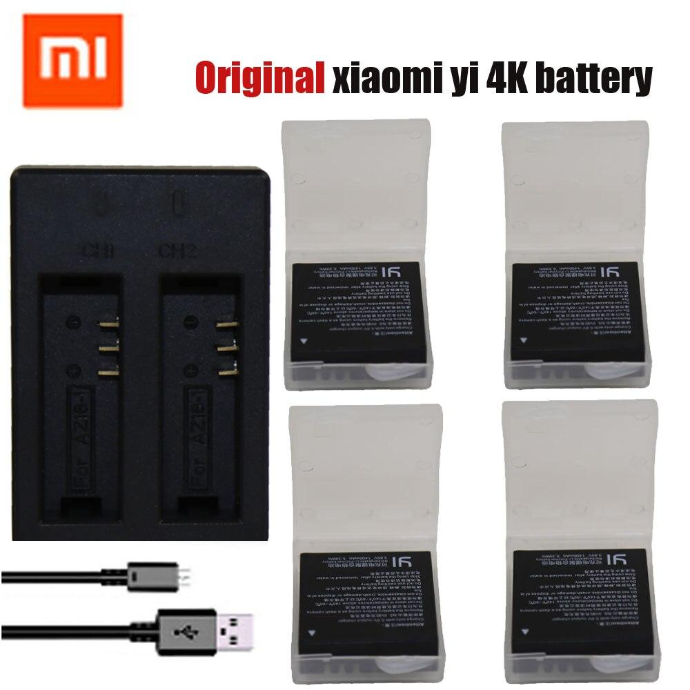 Original 4pcs xiaomi yi 4K battery USB Dual charger bateria Yi 4k For Original xiaomi yi
