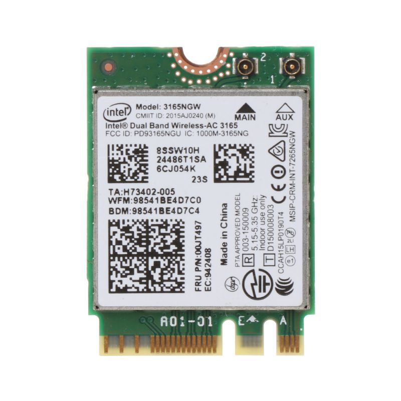 Intel 00JT497 <font><b>3165NGW</b></font> Wireless-AC Dual Band for Lenovo ThinkPad Bluetooth WiFi IBM Card Laptop NGFF Wlan image