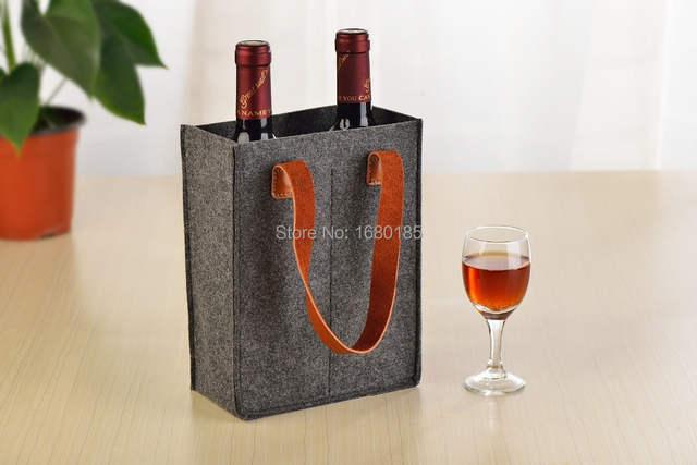 Felt Wine Bag Bottle Holder Leather Carrier Tote 379g