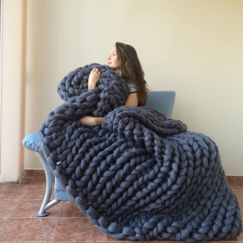 Hand Knitting Merino Wool Blanket : Hand knitting blanket hats super thick merino wool chunky