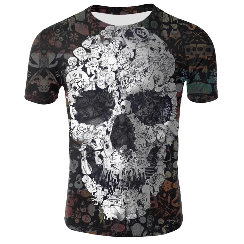 Short-Sleeve Tee-Tops T-Shirt Skull Flower Funny Boy/girl Children Summer Anime 3d Day-Hipster