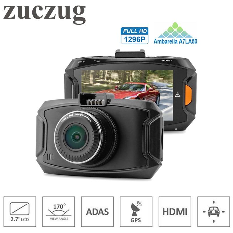 ZUCZUG Mini Car DVR Ambarella A7L50 Car Video Recorder GPS Dash Cam Full HD 1296P 30fps 2.7lcd G-sensor HDR H.264 Car Camera