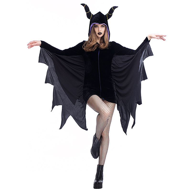 Black Evil Vampire Bat Costume Jumpsuit Adults Black Bat Mans Scary Bat Sleeping Curse Horn Cosplay Onesies Halloween Costumes