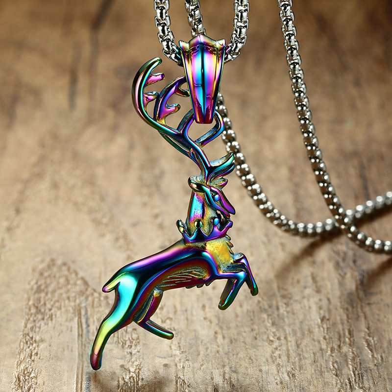 Rainbow Leaping Deer Pendant Necklace for Men Women Stainless Steel Elk Bambi Caribou Reindeer for Male Jewelry Christmas gift