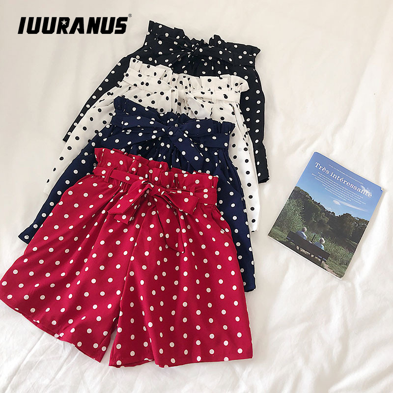 IUURANUS Fashion Polka Dot Chiffon Shorts Women Korean Summer 2019 New High Waist Sweet Bow Tie Elasticated Wide-leg Shorts