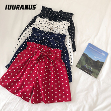 IUURANUS Fashion Polka Dot Chiffon Shorts Women Korean Summer 2019 New High Waist Sweet Bow Tie Elasticated Wide-leg shorts