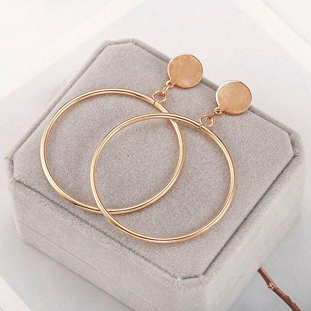 بسيطة أنيقة هوب أقراط جولة دائرة الذهبي الفضة اللون شخصية بيان أقراط للنساء Brinco أقراط E0336 3