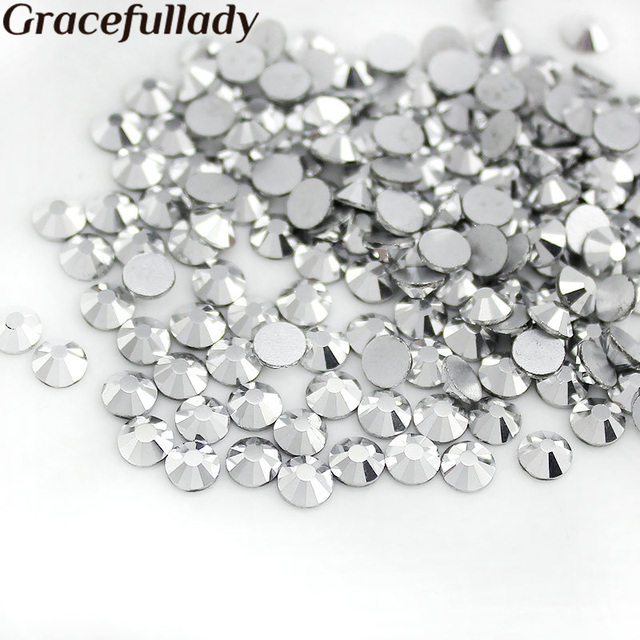 SS3-SS30 288-1440pcs pack Flat Back Crystal Silver ( Nail Art decorations ) Non  Hot Fix Glue on rhinestones for nails 20c3aeed4124