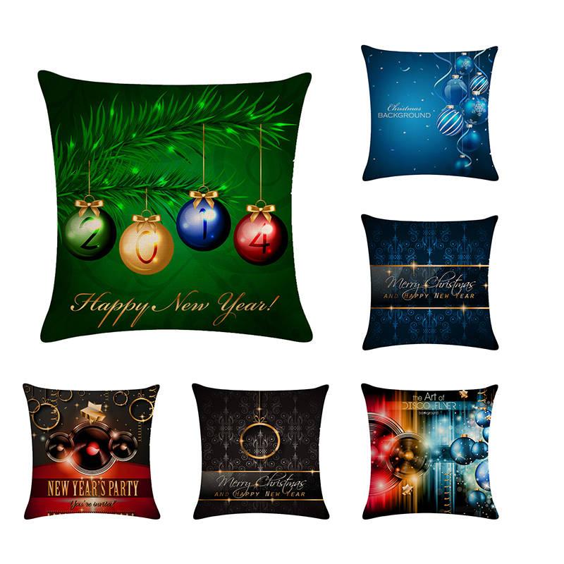 Table & Sofa Linens Merry Christmas Ornament Cushion Cover Xmas Ball Tree Jingle Bell Decorative Cushion Covers Sofa Seat Linen Pillow Case H755