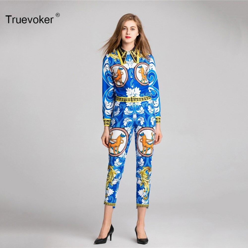 Truevoker Spring Designer Set Women s High Quality Long Sleeve Blue Baroque Printed  Shirt + Pant Suit Casual Clothing Set 90a82e93a36f