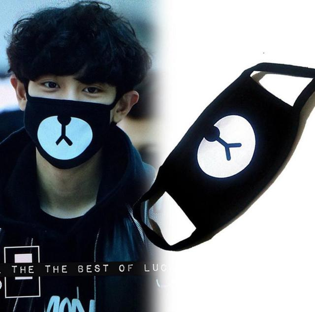 MISSKY Unisex Black Bear Cycling Anti-Dust Tool Cotton Cute Bear Mouth Face Mask Korean Style Kpop EXO 1