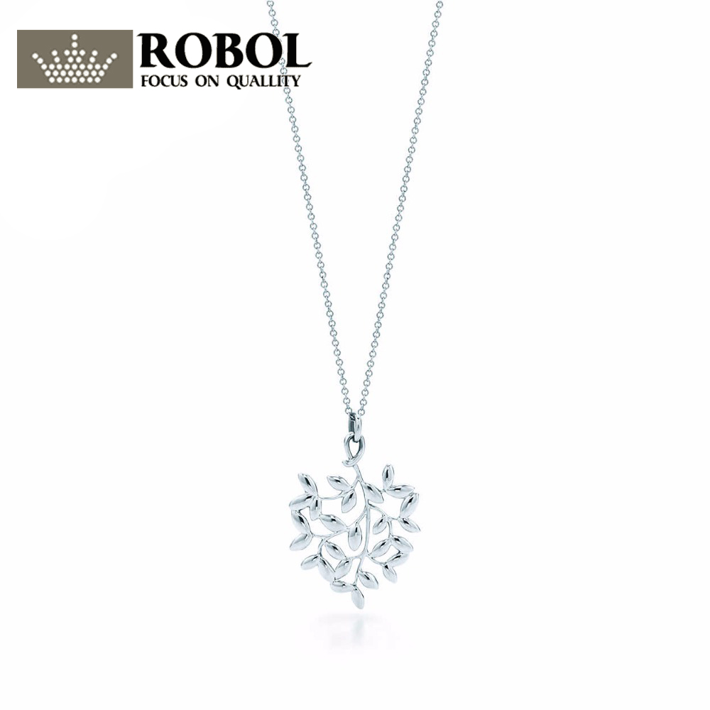 все цены на ROBOL Olive leaf pendant necklace 100% 925 Sterling Silver Pendant Nature Fashion Jewelry Package Mail