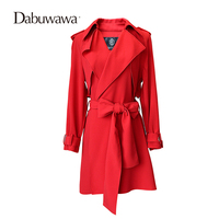 Dabuwawa Two Colors Autumn Long Sleeve Fashion Womens Windbreakers Casual Trench Coat