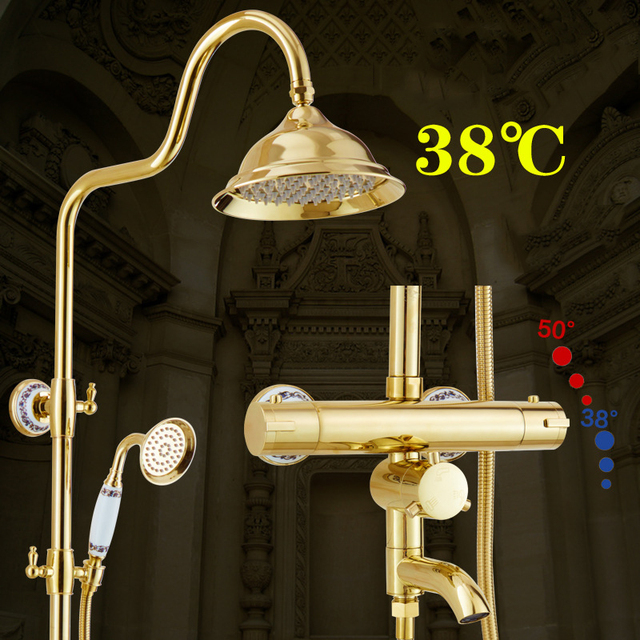 Polished Gold Bathroom Thermostatic Shower Faucet Set In Wall Bath ...