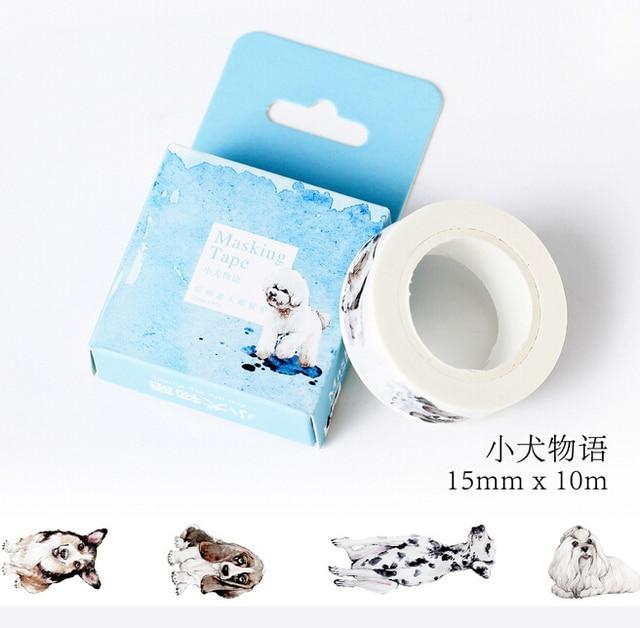 JC301 1.5 cm Ancho Lindo Perro de Mascota Cinta Adhesiva de Washi Tape DIY Scrapbooking Etiqueta adhesiva Cinta Adhesiva