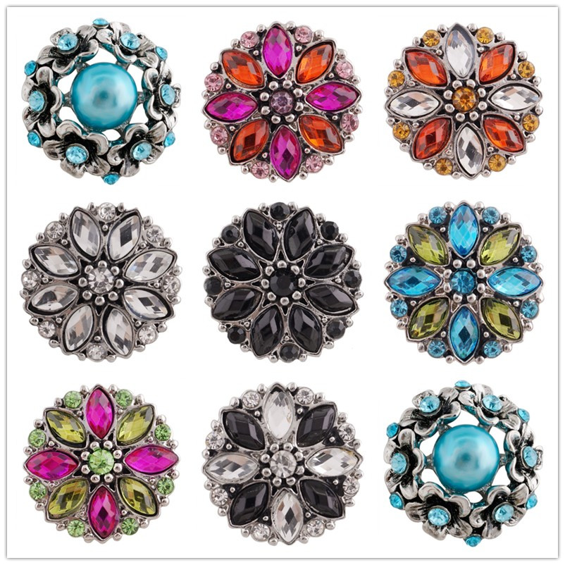 Partnerbeads 10pcs Crystal Bracelet Charms Snap Jewelry 18mm Ginger Rhinestone Flower Snap Button Jewelry For Women Beads KC7336