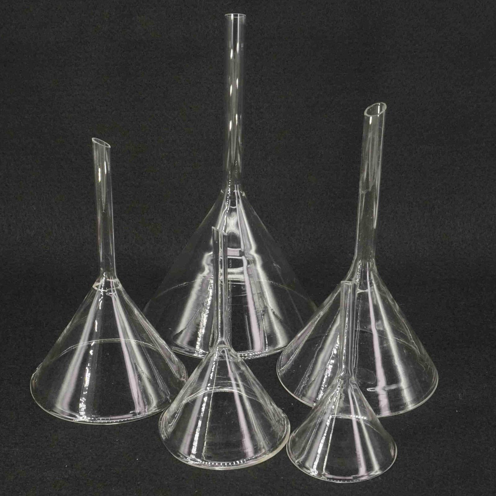 40mm/50mm/60mm/75mm/80mm/90mm/100mm/120mm Miniature Lab Glass Funnel Borosilicate Glassware Triangle Funnel