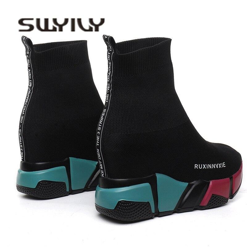 SWYIVY Meia Botas Mulher Plataforma Cunha Hided Sapatos Casuais Femininas 2018 Outono Nova Cunha Senhora Tricô Curto Tornozelo Botas de Plataforma