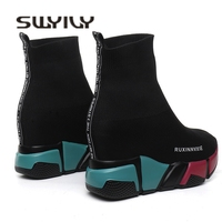 SWYIVY Sock Boots Woman Hided Wedge Platform Female Casual Shoes 2018 Autumn New Wedge Lady Knitting Short Ankle Boots Platform