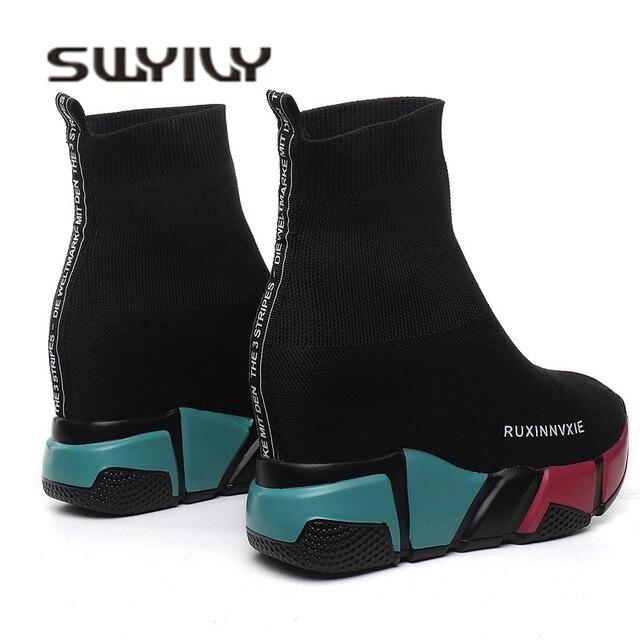 SWYIVY Çorap Çizmeler Kadın Hided Kama Platformu Kadın rahat ayakkabılar 2018 Sonbahar Yeni Kama Lady Örme Kısa yarım çizmeler Platformu