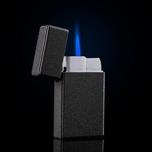 Image 1 - Kompakte Jet Butan Gas Feuerzeug Metall Taschenlampe Turbo Leichter 1300 C Feuer Winddicht Ping Sound Zigarre Rohr Leichter Kein Gas