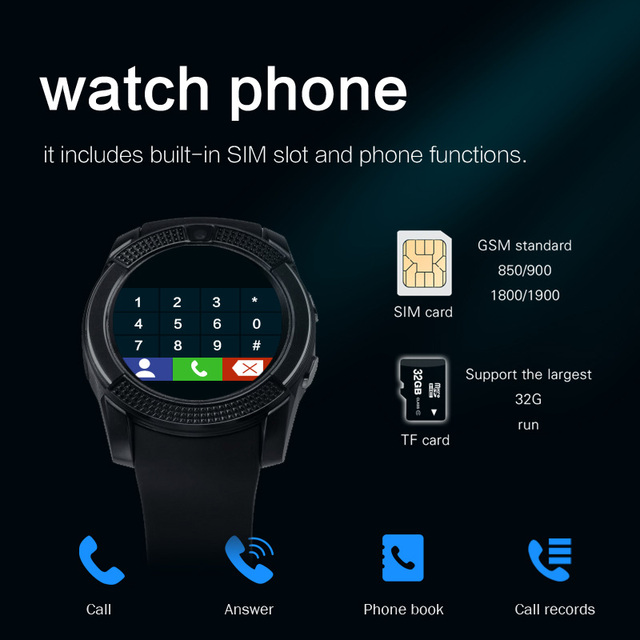 Sport Men Smart Watch v8 sim card android camera rounded Answer Call Dial Call Smartwatch Heart Rate Fitness Tracker