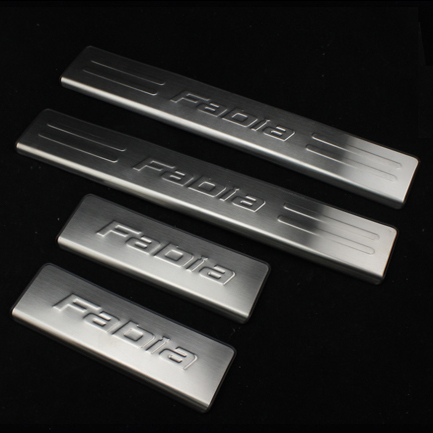 Free shipping scuff plate stainless steel door sill car accessories for Skoda fabia 2008 2009 2010 2011 2012 2013 2014 2015