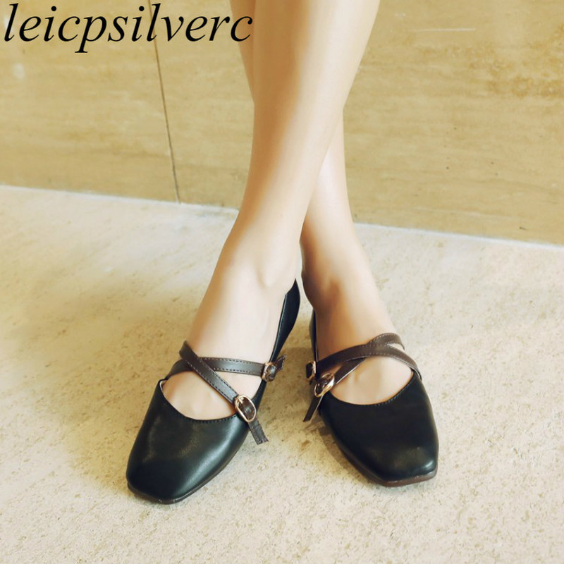 Girls Flats Mary Janes Footwear Spring Autumn Sq. Toe 2019 Horny New Trend Pu Buckle Informal Workplace Wedding ceremony Occasion White Yellow Girls's Flats, Low cost Girls's Flats, Girls...