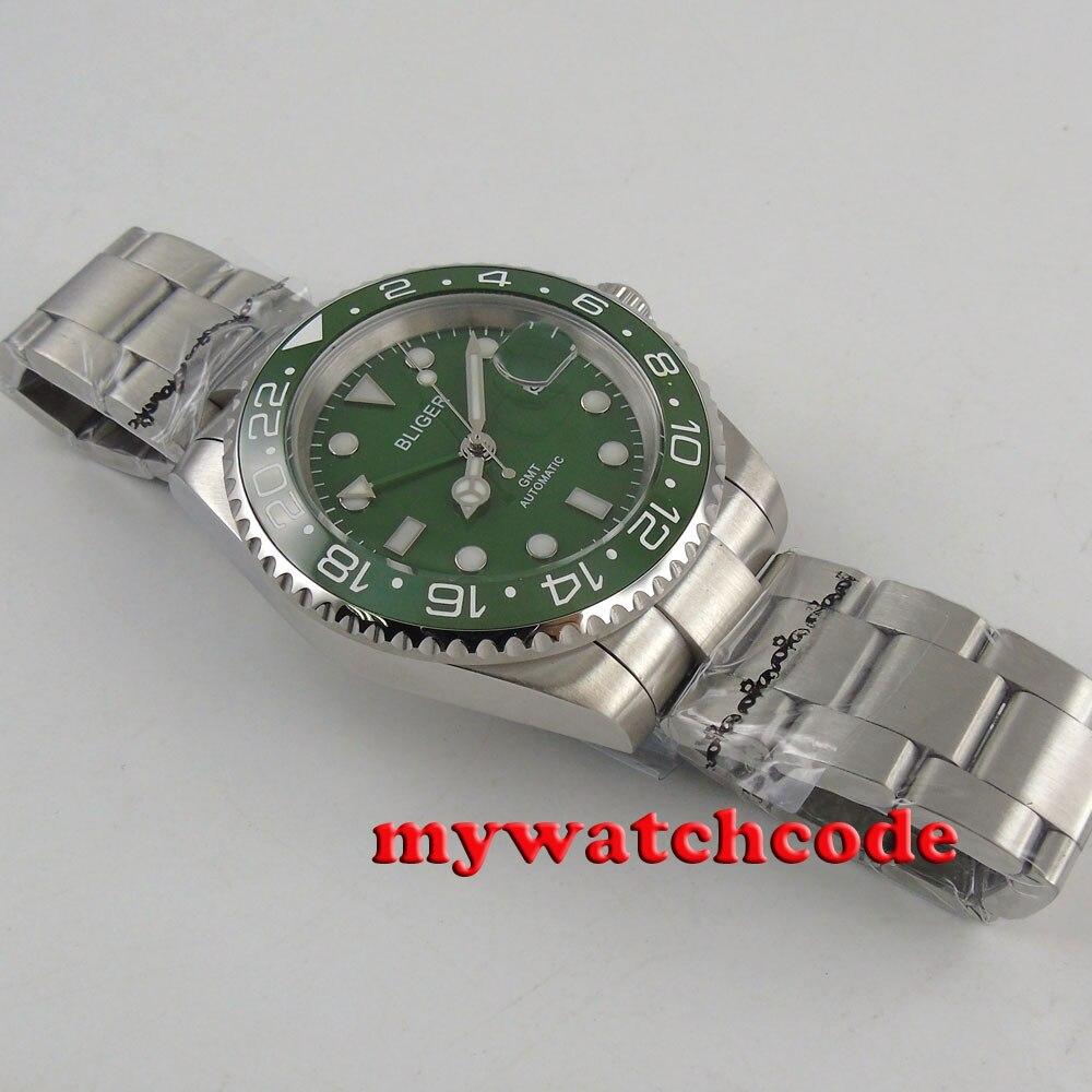 40 Mm Bliger Green Dial Blauw Lichtgevende Marks Gmt Datum Saffierglas Automatic Mens Watch 179B - 3