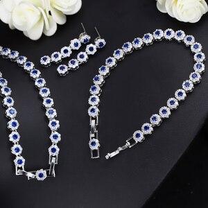 Image 3 - CWWZircons 3 個 Cz グリーンクリスタルブレスレットのネックレスとイヤリングセット高級女性ウェディングアクセサリー花嫁ジュエリーセット T030