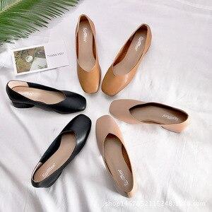 Image 5 - 2020 new arrive women pumps High quality Soft leather square toe fashion single shoes big size 34 40 N700