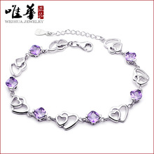 Silver Bracelets Refinement Simplicity Double Love Soulmate Birthday Gifts For Las Wrist Charm China
