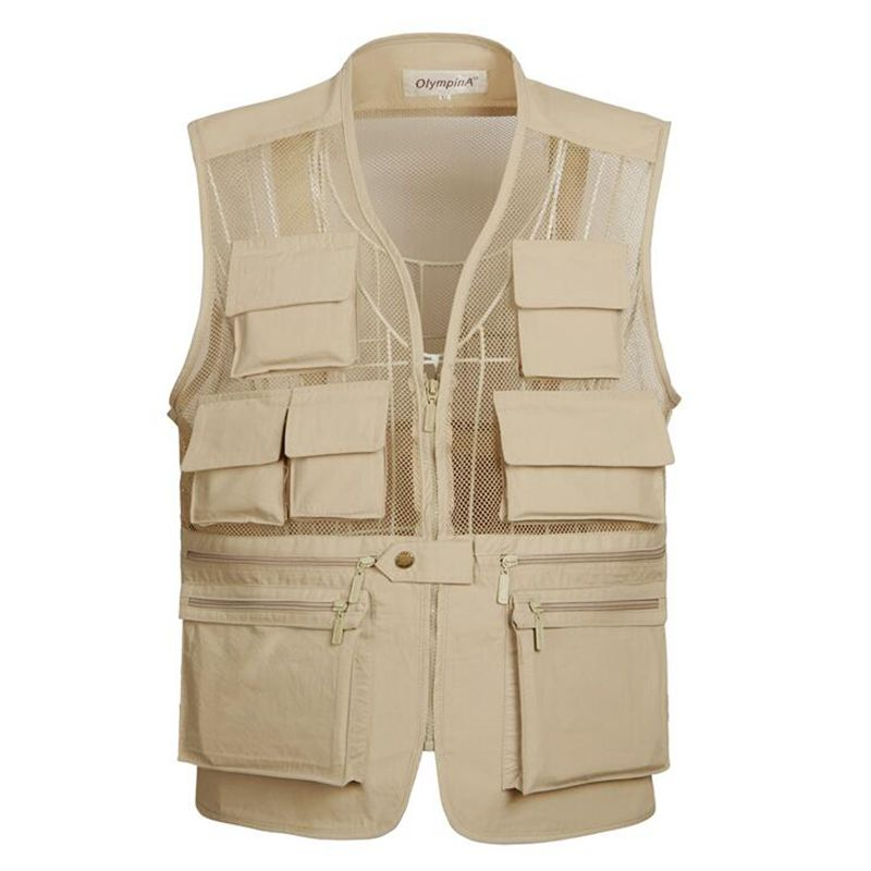 Casual Summer Breathable Mesh Vest Men Fast Dry Photographer Sleeveless Jacket Lightweight Quick Dry Multi-Pocket Bicycle Vest
