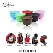 LMETJMA 9 kolor wielokrotnego użytku Dolce Gusto kapsułki do kawy BPA bezpłatne kapsułki kawy dla Dolce Gusto maszyny filtr do kawy zestaw tanie tanio Z tworzywa sztucznego Wielokrotnego użytku Filtry Dolce Gusto Coffee Capsules PP Stainless Steel