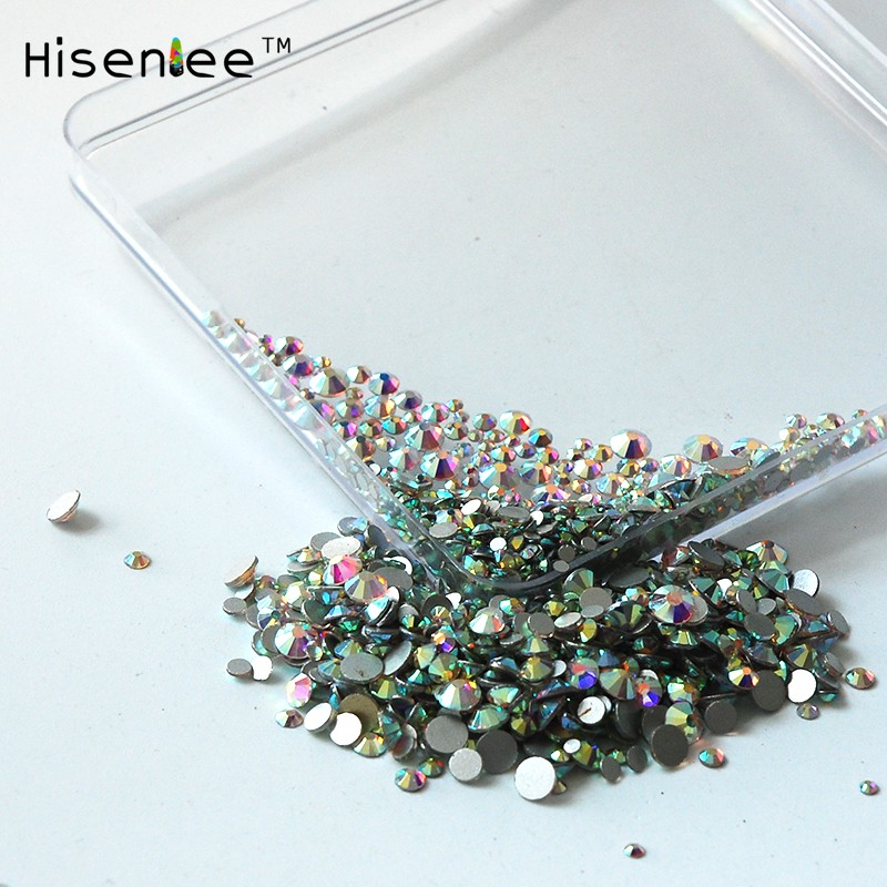 High quality 1000PCS Mix Sizes Crystal Clear AB Non Hotfix Flatback Nail Rhinestones For Nails 3D Nail Art Decoration Gems 1728pcs clear crystal ab ss3 to ss10 mini sizes nail art non hotfix crystal glass rhinestones nail decoration
