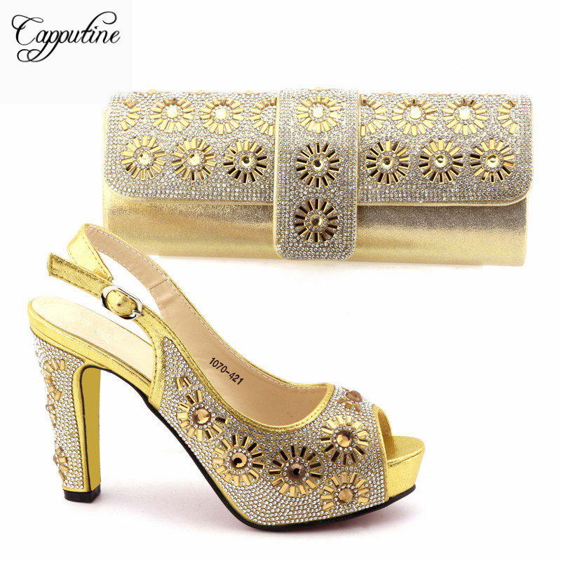 Capputine Nigerian Women Wedding Gold Color Shoes And Bag Set Italy Elegant High Heels Shoes And Bag Set For Wedding TX-1070 capputine 2018 african elegant shoes and bag to match set high quality nigerian pumps shoes and bag set for wedding 7colors sale