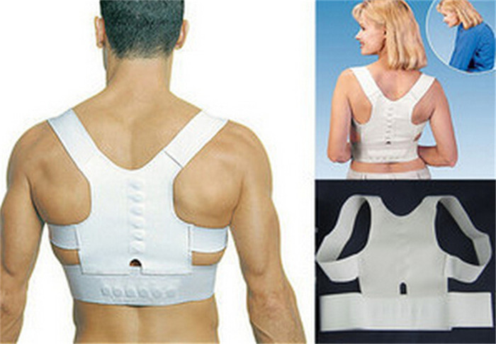 Express Free Shipping 50pcs/lot Body Back Pain shoulder belts support Magnetic Posture corrector